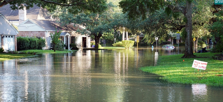Flooded housing in Houston following Hurricane Harvey.