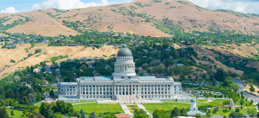 Aerial view of Utah State Capitol