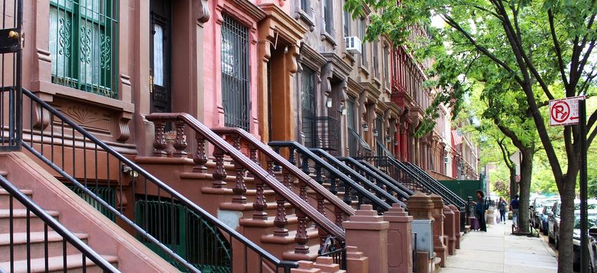 Brownstones in Harlem, New York.