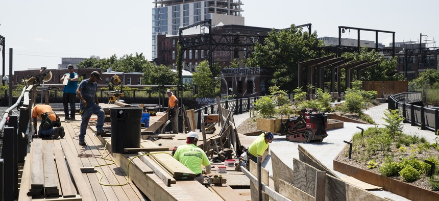 Philadelphia's Rail Park project is transforming an abandoned rail line into an elevated park. The first phase opened last year.