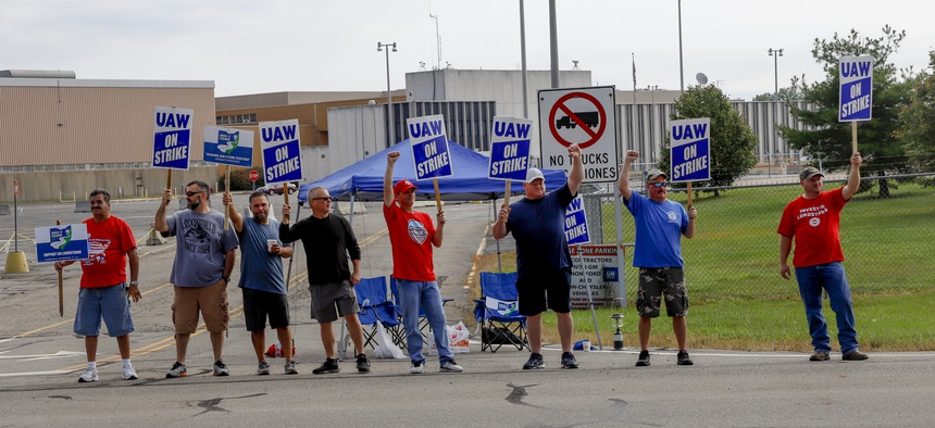 UAW workers on strike in Lordstown, Ohio, where a factory is slated for closure.