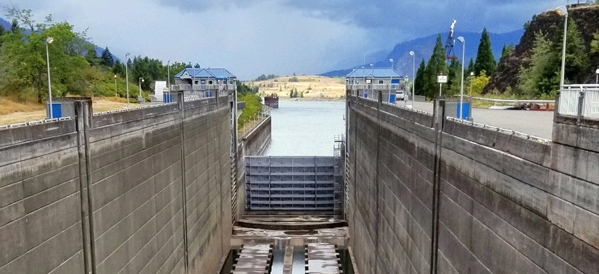This Sunday, Sept. 8, 2019 photo shows a dry boat lock at the Bonneville Dam on the Columbia River. Cracking on part of the lock has resulted in a closure that is blocking river traffic.