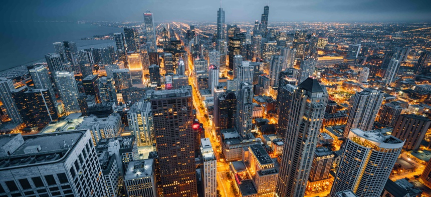 Chicago's city skyline. The metropolitan area that includes the city ranks 22nd when comparing its economic output to other U.S. metro areas and foreign countries.