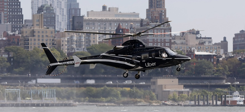 An Uber helicopter lands in New York.