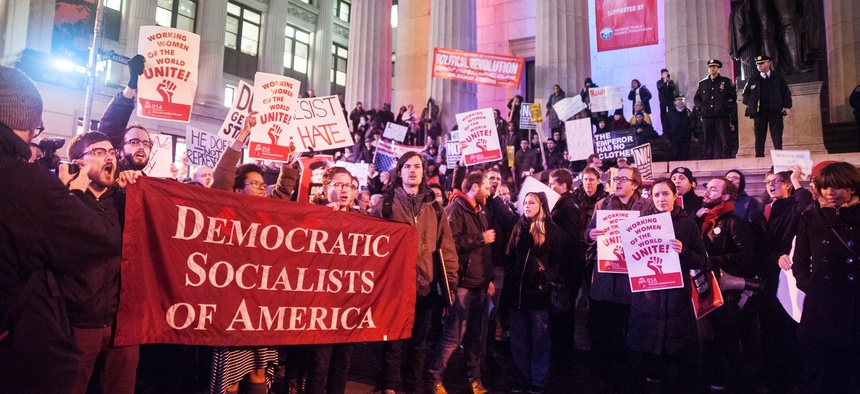 Members of the New York City chapter of the Democratic Socialists of America protest Trump's inauguration in January 2017.