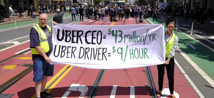 A demonstration in support of drivers in California.