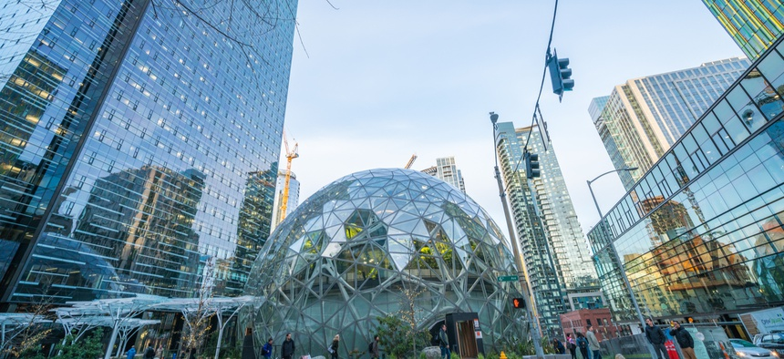 Amazon's world headquarters in Seattle, Washington. The company has spent over $1 million on the city's local elections this year.