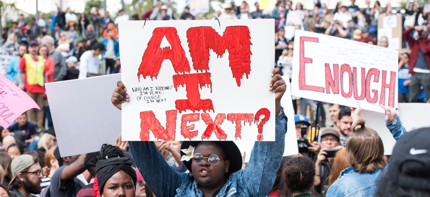 March For Our Lives, a rally to end gun violence and mass shootings, in Los Angeles in 2018.