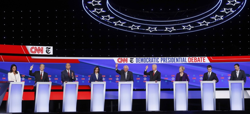 Candidates participate in a Democratic presidential primary debate hosted by CNN/New York Times at Otterbein University, Tuesday, Oct. 15, 2019, in Westerville, Ohio.