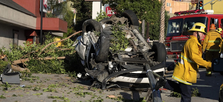 A Los Angeles fire department firefighter responding to a car crash in the city during 2016.