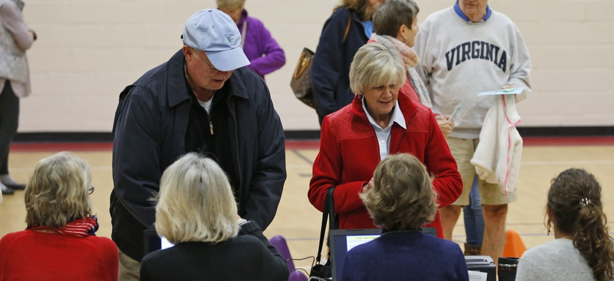 Voters in Virginia line up at their polling place.