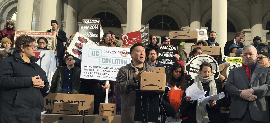 New York's offer of incentives to Amazon to open a headquarters in the state faced significant opposition.