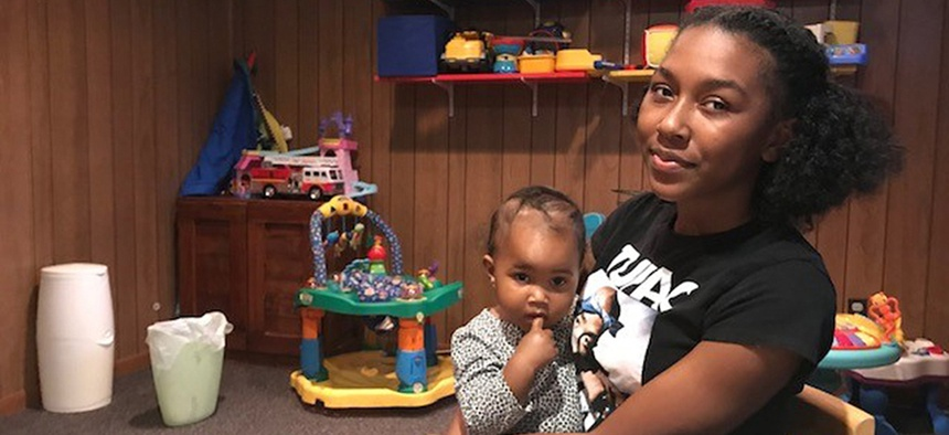 Taelyn, a 20-year-old single mother in Fairfax County, Virginia, says she became homeless shortly after she had her baby.