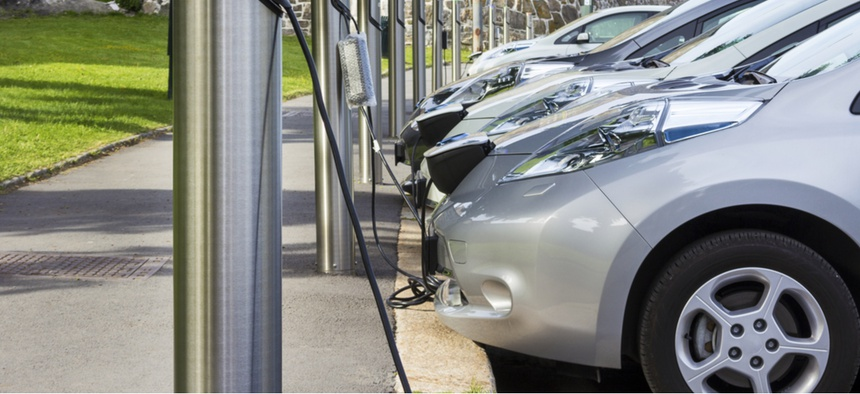 Electric cars at a charging station.