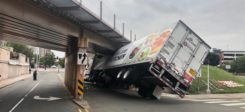 A truck hits a bridge in Durham, North Carolina.