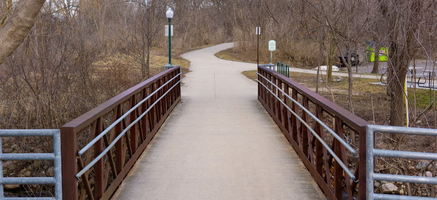 Bridge over the Paint Creek in Rochester, Michigan, which is part of Oakland County.