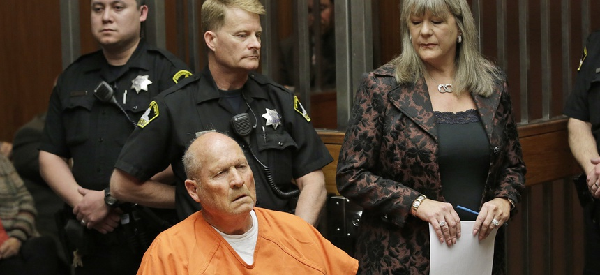 "Joseph James DeAngelo, 72, who authorities suspect is the ""Golden State Killer."" They said they used a genetic genealogy website to connect some crime-scene DNA to DeAngelo."