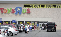 A Toys 'R' Us store in Totowa, NJ, having a closing sale in June 2018.