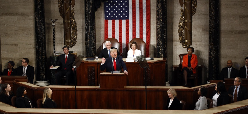 President Donald Trump delivers his State of the Union address to a joint session of Congress on Capitol Hill in Washington, Tuesday, Feb. 4, 2020.