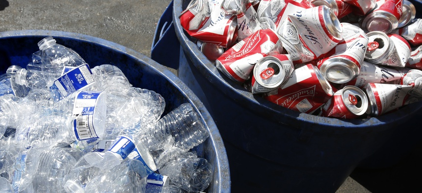In this July 5, 2016, file photo, cans and plastic bottles brought in for recycling are seen at a recycling center in Sacramento, Calif.