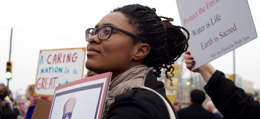 A woman at the Philadelphia Women's March in 2019.