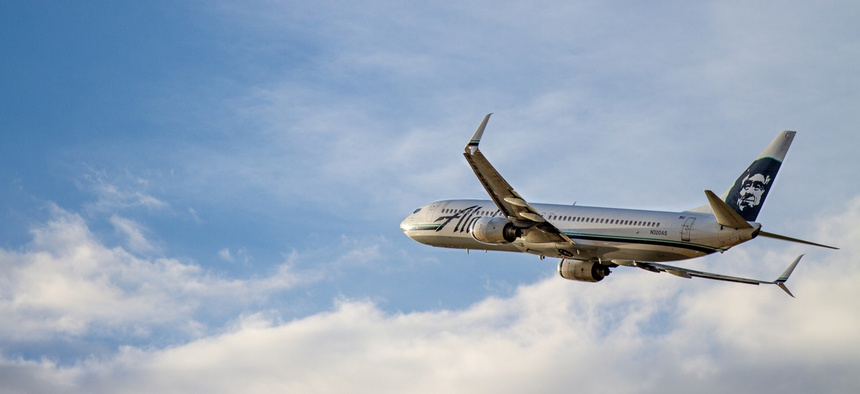 An Alaska Airlines flight takes off from Boise, Idaho, on May 29, 2019.