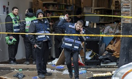 First responders at the scene of a shooting in a New Jersey kosher market on Dec. 11, 2019. New Jersey saw a dramatic rise in hate crimes in 2019.