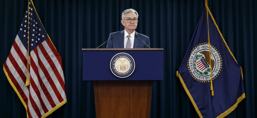 Federal Reserve Chair Jerome Powell speaks during a news conference, Tuesday, March 3, 2020, to discuss an announcement from the Federal Open Market Committee, in Washington. The Fed has been enacting programs in response to the coronavirus outbreak.