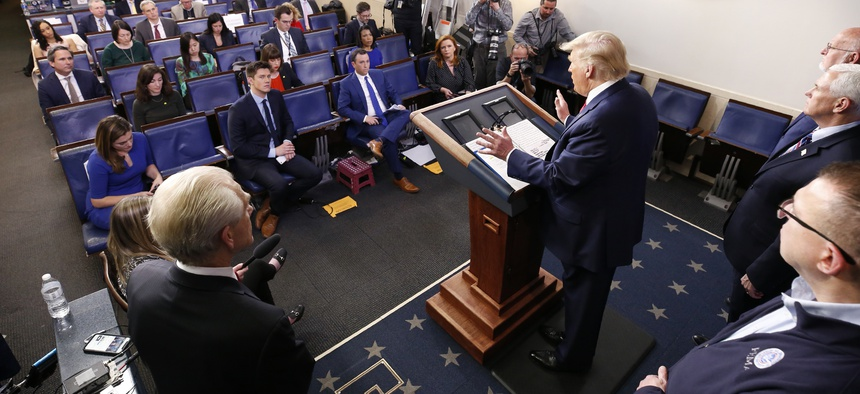 President Donald Trump speaks during a coronavirus task force briefing at the White House, Sunday, March 22, 2020, in Washington, D.C.