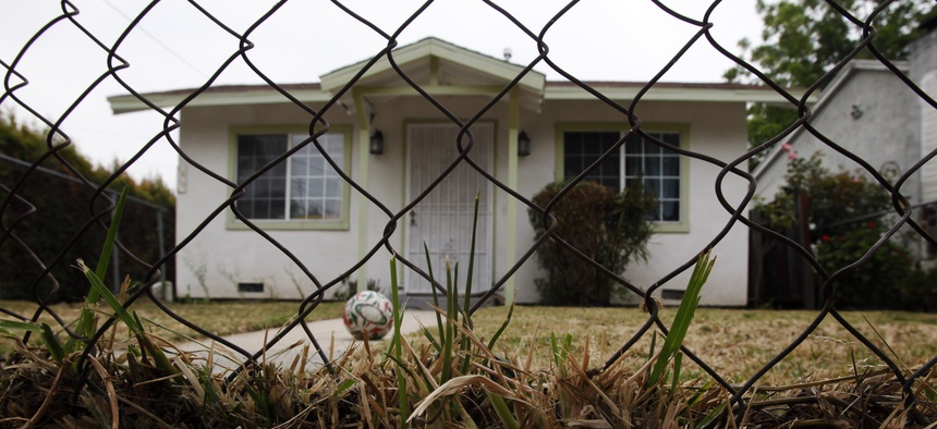 A home that is listed as in foreclosure in seen in Los Angeles Thursday, June 9, 2011.