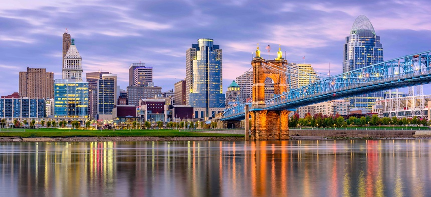 The skyline in Cincinnati, Ohio where city officials this week announced that hundreds of municipal workers would be placed on unpaid leave due to the coronavirus crisis.