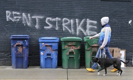 Graffiti in support of a rent strike in Seattle. In the absence of state or federal action on a rent freeze, some organizers say tenants need to unite in a rent strike.