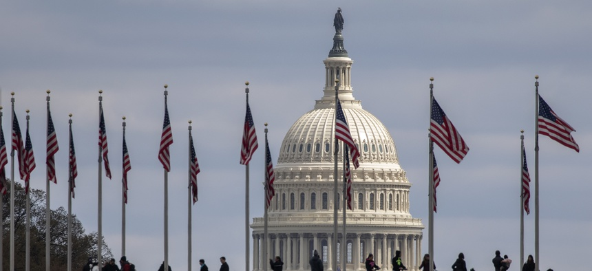People walk among U.S. flags with the U.S. Capitol in the background, Sunday, March 15, 2020, in Washington.