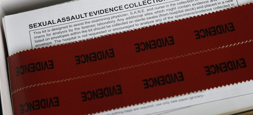 A sexual assault evidence collection kit at Rape Crisis Volunteers of Cumberland County in Fayetteville, N.C.