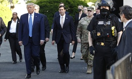 In this June 1, 2020 photo President Donald Trump departs the White House to visit outside St. John's Church in Washington.