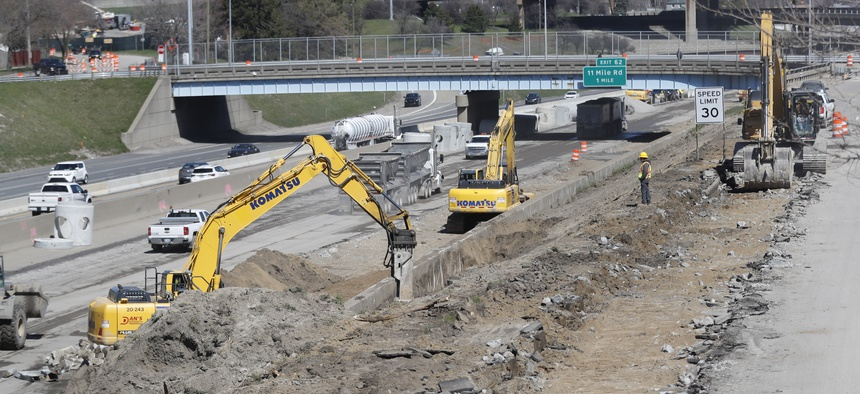 Work continues on the Interstate Highway 75 project, Monday, April 20, 2020, in Hazel Park, Mich.