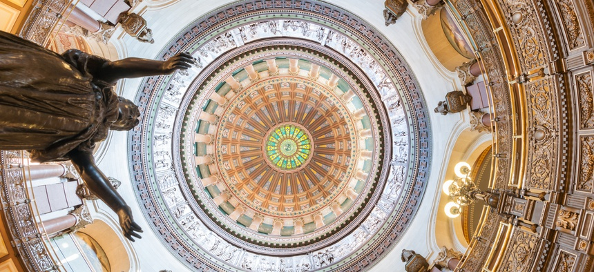 Ornate dome inside state capitol building in Springfield, Illinois.