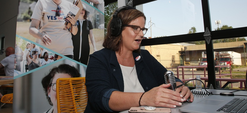 Amber England, campaign manager, Yes on 802, addresses supporters via the internet Tuesday, June 30, 2020, in Oklahoma City, as due to Covid-19 concerns, a virtual watch party replaces the normal watch party.