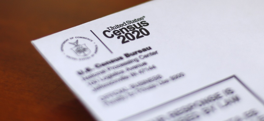 An envelope containing a 2020 census letter mailed to a U.S. resident is shown in Detroit, Sunday, April 5, 2020.