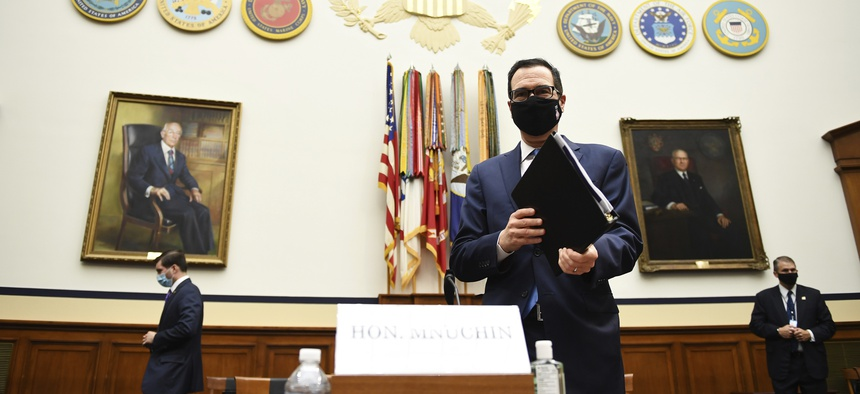 Treasury Secretary Steven Mnuchin arrives to testify before a House Small Business Committee hearing on oversight of the Small Business Administration and Department of Treasury pandemic programs on Capitol Hill in Washington, Friday, July 17, 2020.