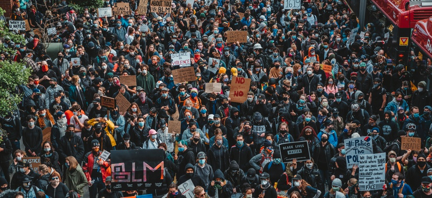 Protesters in Seattle on June 2, 2020. The potential for law enforcement to leverage facial recognition during protests could threaten civil rights and civil liberties.